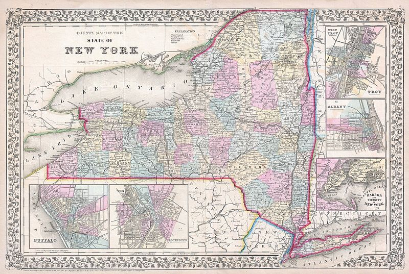 File1867 Mitchell Map Of New York State  Geographicus