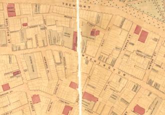 The Boston Theatre - Image: 1869 West St Nanitz map Boston detail BPL10490