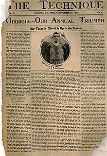 "A newspaper front page with the headline, ""Georgia—Our Annual Triumph"", an image of a football player, and four columns of text"