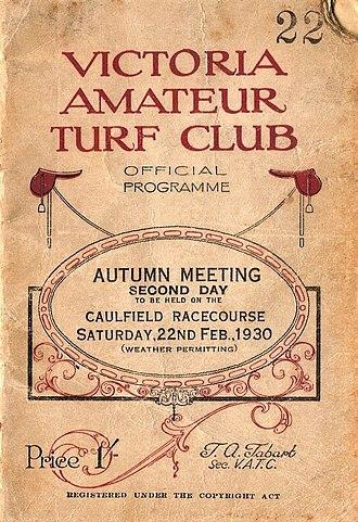 Amounis - Image: 1930 VATC Futurity Stakes Racebook P1