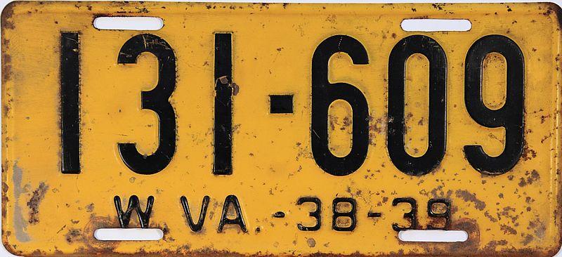 File:1938-39 West Virginia license plate.jpg
