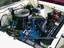 engine bay of a 1970 javelin with a ram air 390 v8