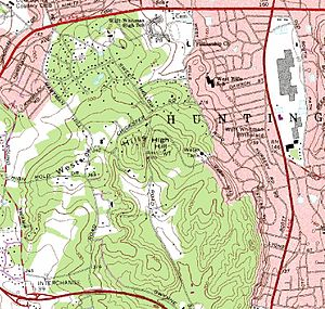 """Jayne's Hill - 1979 USGS map excerpt showing location of """"High Hill"""" aka Jayne's Hill. Walt Whitman's birthplace lies due east."""