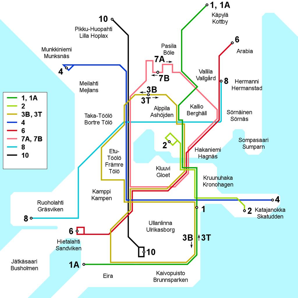 1992 Helsinki tram map