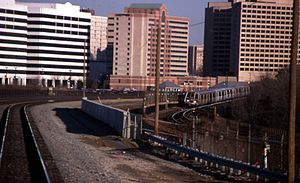 A Washington, D.C. metro train passing through downtown Alexandria in February 1999.