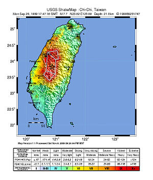 1999 Jiji earthquake - USGS ShakeMap for the event