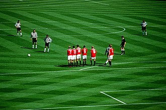 1999 FA Cup Final - Newcastle's Nolberto Solano prepares to take a free kick on the edge of the Manchester United box.