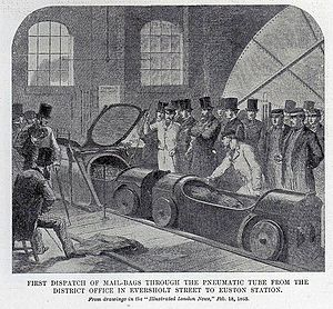 London Pneumatic Despatch Company - First dispatch of mail bags through the pneumatic tube from the district office in Eversholt Street to Euston Station. Illustrated London News, 18 February 1863
