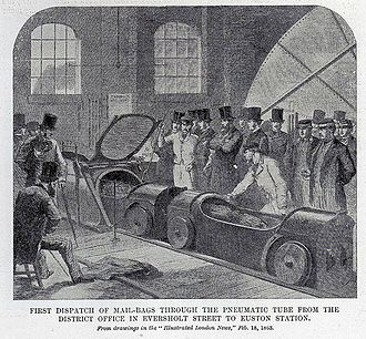 London Pneumatic Despatch Company - First dispatch of mail bags through the pneumatic tube from the district office in Eversholt Street to Euston Station. Illustrated London News, 28 February 1863