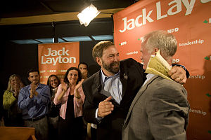 Tom Mulcair - Tom Mulcair celebrates his by-election win with Jack Layton