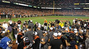 2014 Baltimore Orioles season - members of the 2014 Baltimore Orioles celebrating at Oriole Park immediately after clinching the American League East title