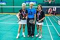 2014 US Senior International Badminton Championships, Miami Lakes - WS65 - Gold - Barbara Gibson (England), Silver - Marg Hudson (Canada) (12260158256).jpg