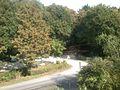 2016-09-23-Blick von der alten Fussgängerbrücke Eller auf den Eingang LSG Eller Forst Kikweg-Parkplatz Am Kleinforst.jpg