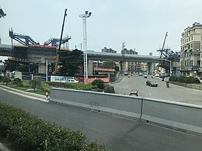 201907 Metro Keqiao West Station under Construction.jpg