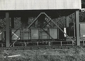 Mineral wagon - Vacuum-braked 21 ton coal wagon being loaded from a hopper at Blaenant Colliery, bound for Aberthaw Power Station, c.October 1965