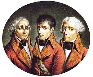 Consul - A portrait of the three consuls, Jean Jacques Régis de Cambacérès, Napoleon Bonaparte and Charles-François Lebrun (left to right)