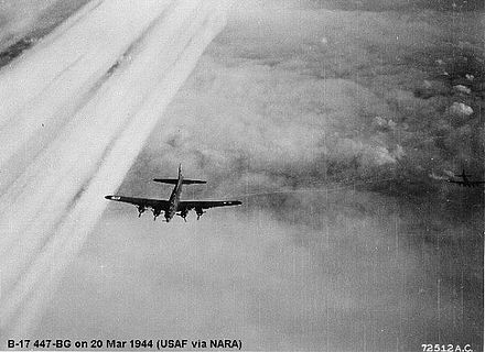B-17 of the 447th Bomb Group inflight en route to attack a Propeller plant at Frankfurt, Germany - 20 March 1944. 447bg-b17-1.jpg