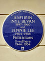 ANEURIN 'NYE' BEVAN 1897-1960 and JENNIE LEE 1904-1988 Politicians lived here 1944-1954.jpg