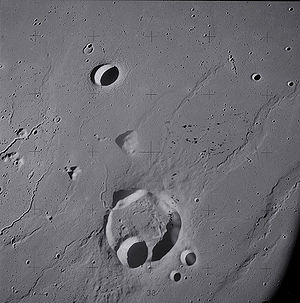 Wrinkle ridge - Lunar crater Krieger and vicinity, showing wrinkle ridges in the surrounding mare and sinuous rilles along the left edge, from Apollo 15