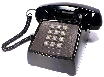 AT&T push-button telephone made by Western Electric, model 2500 DMG black (1980) AT&T push button telephone western electric model 2500 dmg black.jpg