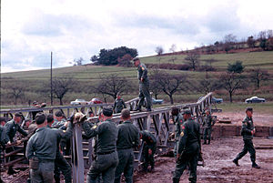 9th Engineer Battalion (United States) - A Co builds a Bailey Bridge during training near Aschaffenburg, 1966.