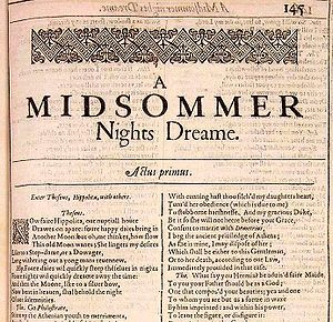 Textual criticism - William Shakespeare, A Midsummer Night's Dream (First Folio)