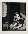 A beggar boy picking a flea from the seam of his shirt. Engr Wellcome V0019955.jpg