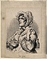 A grumpy nurse carrying a bowl and candle-stick. Wood engrav Wellcome V0011058.jpg