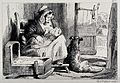 A mother breastfeeding her child in a cottage while her dog Wellcome V0020818.jpg