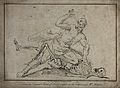 A skeleton wrestling with a man, the man seems to be winning Wellcome V0049262.jpg