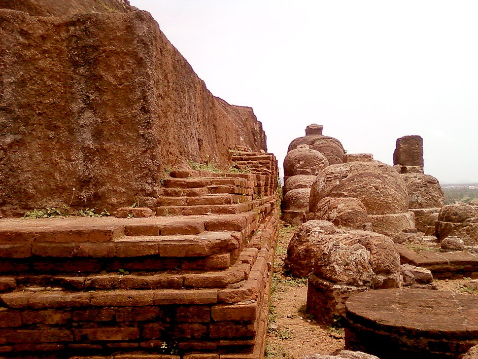 A view of Rock cut Stupas at Bojjannakonda