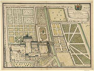 Bourgueil Abbey - Plan of Bourgueil Abbey, c. 1600