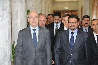 Alain Juppé - French and Tunisian Foreign ministers Alain Juppé and Rafik Abdessalem at Tunis on 5 January 2012