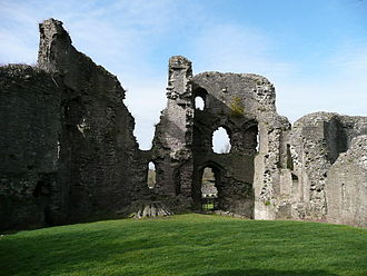 Abergavenny Castle - Interior of the surviving curtain wall and four-storey tower looking west from inside the castle grounds