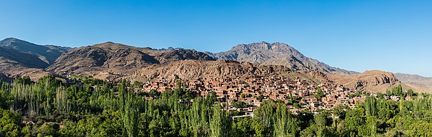 Panoramic view of the village of Abyaneh from the Old castle, Barzrud Rural District, Natanz County, Isfahan Province, Iran.