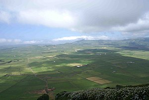 Terceira Island - The Achada Plain, within the Guilherme Moniz Volcanic Complex, is a fertile pastureland used for rotational crops and grazing dairy cattle