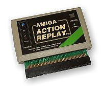 A rectangular software cartridge in a beige case with a black label and connector pins extruding from the bottom.