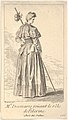 Actress Charlotte Desmares playing the role of a pilgrim, shown from behind with her head turned toward the right, she holds a walking stick, scallop shells adorn her cape MET DP834135.jpg