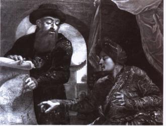 Johann Adam Schall von Bell - A European painting of Adam Schall dressed in mandarin robes with an Orientialized depiction of the Shunzhi Emperor.