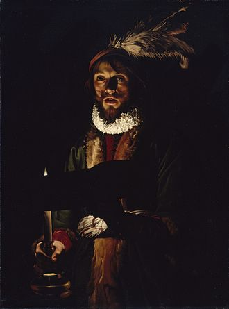 Tenebrism - A Man Singing by Candlelight, by Adam de Coster, 1625–1635