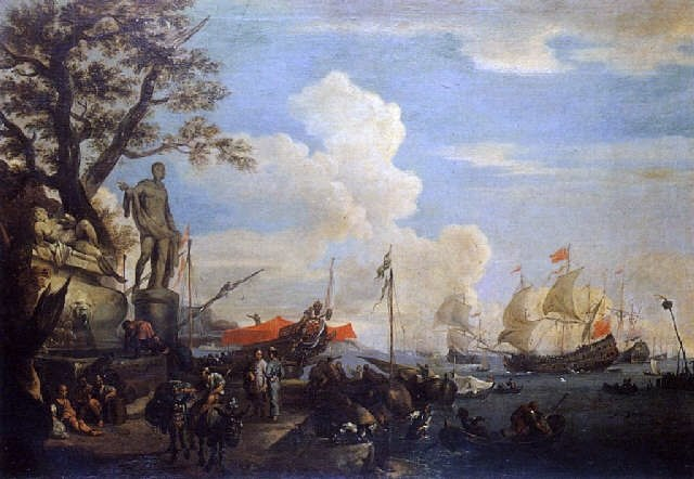 Adriaen van der Kabel 1682 Mediterraneon port with Turkish merchants
