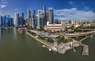 Singapore River - Aerial Panorama of Merlion Park. The Singapore River ends its journey here.