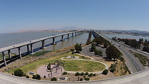 Benicia–Martinez Bridge - Image: Aerial view of Vista Point, Benicia–Martinez Bridge & Mt Diablo