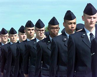 Airman Basic - Airmen basic march in column formation as part of their graduation ceremony at Lackland Air Force Base in San Antonio, Texas.