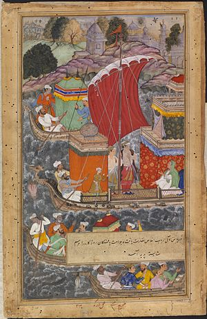 Hamida Banu Begum - Akbar's mother travels by boat to Agra. An illustration from the Akbarnama.