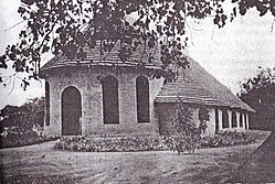 The church at the CMS mission station in Akot, now destroyed