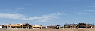 Alamogordo, New Mexico - New buildings in Alamogordo: PreCheck, Inc. headquarters, Aviator 10 Theater, and the US Department of Agriculture / Forest Service building.