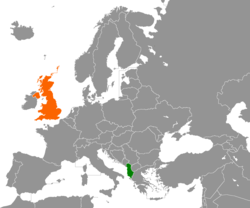 Map indicating locations of Albania and United Kingdom