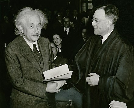 Albert Einstein received his certificate of American citizenship from Judge Phillip Forman. Albert Einstein citizenship NYWTS.jpg