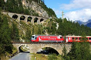 Albula Railway - An RhB train amidst the spiral tunnels
